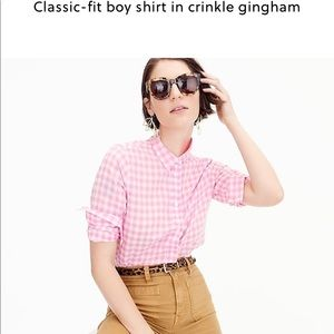 J Crew classic boy shirt In crinkle gingham.